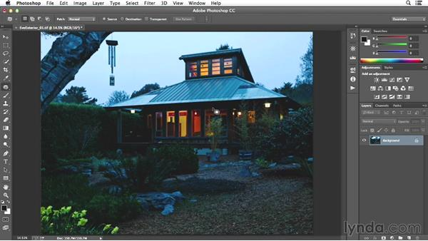 Dust spotting and finishing on the evening exterior image: Enhancing Exterior Architectural Photos