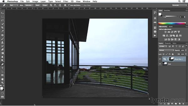 Adjusting details on the deck image in Photoshop: Enhancing Exterior Architectural Photos