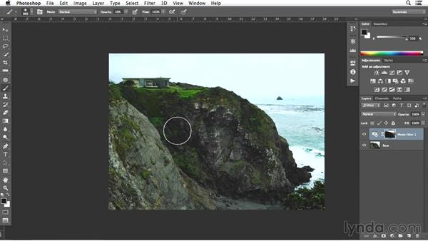 Making color adjustments on the bluff shot: Enhancing Exterior Architectural Photos