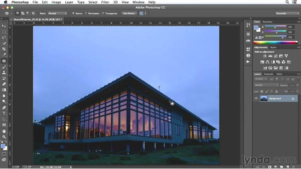 Sky adjustment on the exterior shot: Enhancing Exterior Architectural Photos