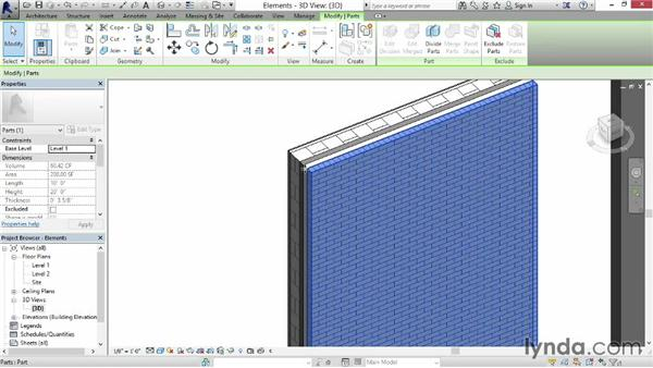 Creating and removing parts: Revit Construction Modeling Tools
