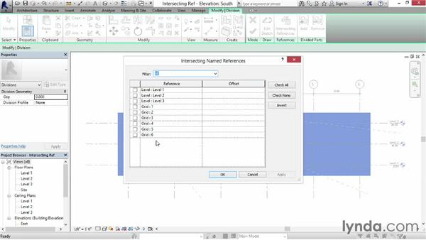 Using intersection references: Revit Construction Modeling Tools