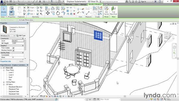 Displacing sub-elements: Revit Construction Modeling Tools