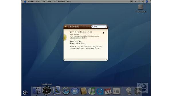 Dictionary Widget: Mac OS X 10.4 Tiger Essential Training