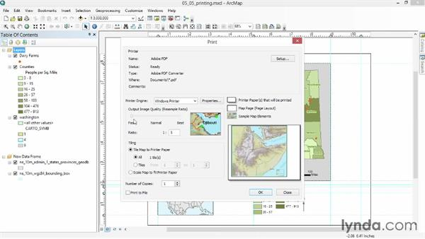 Printing and exporting the map to a file: Up and Running with ArcGIS