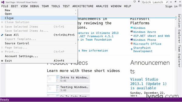 Exploring the IDE: The File menu: Visual Studio 2013 for Windows Store Developers