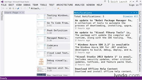 Exploring the IDE: Default toolbar, notifications, and Quick Launch: Visual Studio 2013 for Web Developers