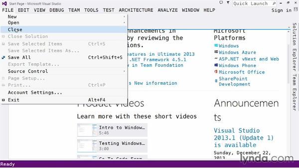 Exploring the IDE: The File menu: Visual Studio 2013 for Web Developers
