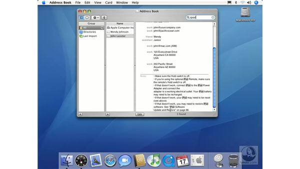 Spotlight in Address Book: Mac OS X 10.4 Tiger Essential Training