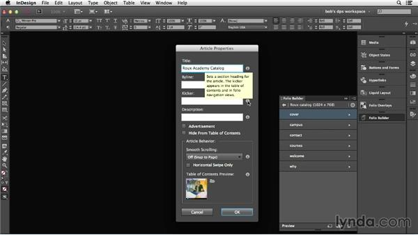 Setting or changing article order and properties: Adobe Digital Publishing Suite Essential Training