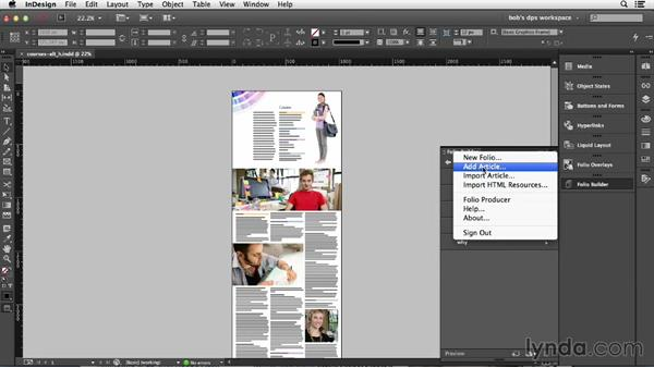 Creating smooth scrolling articles: Adobe Digital Publishing Suite Essential Training