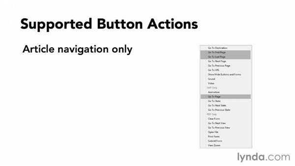 Supported button actions: Adobe Digital Publishing Suite Essential Training