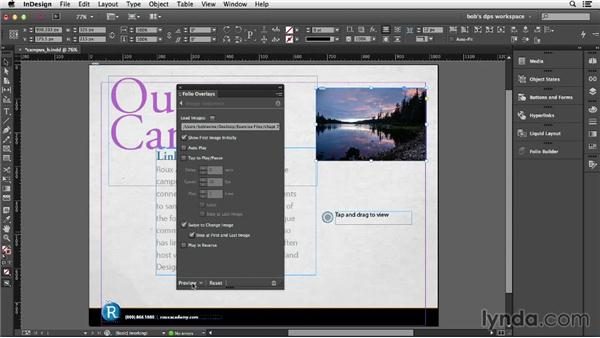 Adding and configuring image sequences: Adobe Digital Publishing Suite Essential Training