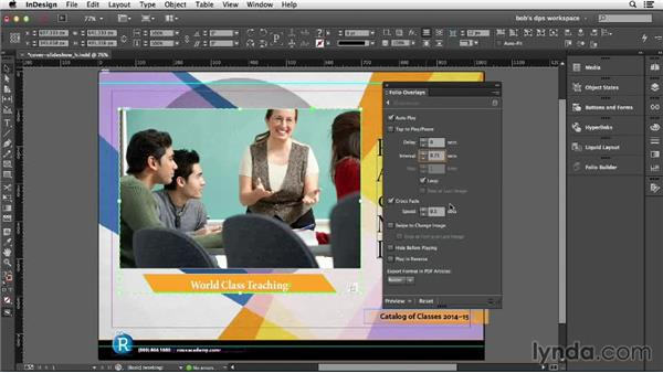 Autoplay and swipeable slideshows: Adobe Digital Publishing Suite Essential Training