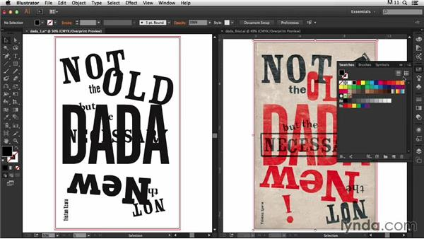 Adding color and creating an overprint effect: Type Project: Dada Poster