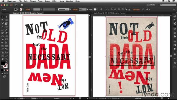 Adding lines and ornaments: Type Project: Dada Poster