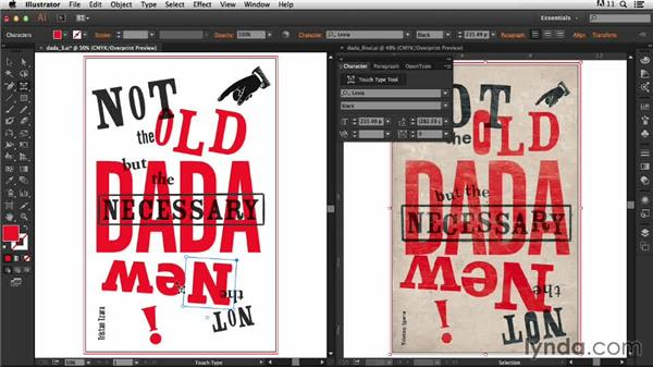 Creating an uneven baseline with the Touch Type tool: Type Project: Dada Poster