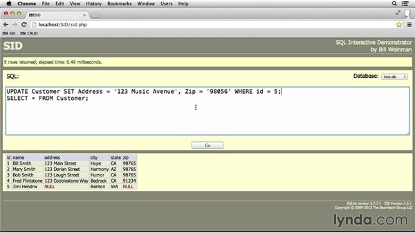 Updating data: SQL Essential Training
