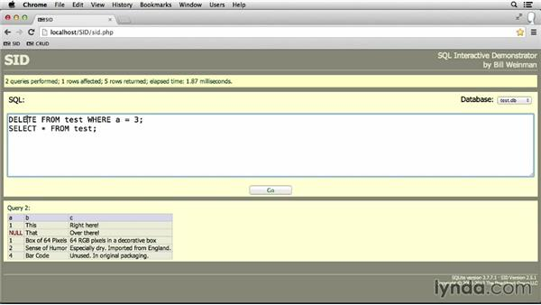 Deleting rows from a table: SQL Essential Training