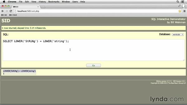 Making strings uppercase and lowercase: SQL Essential Training