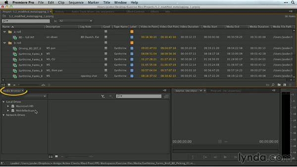 The modified Metalogging workspace: Premiere Pro Guru: Customizing Workspaces