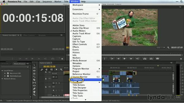 The large timecode window: Premiere Pro Guru: Customizing Workspaces