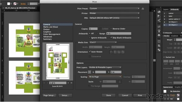 Printing artboards for a presentation: Package Design with Illustrator