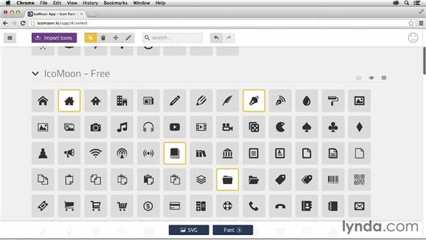 Choosing existing icons: Creating Icon Fonts for the Web