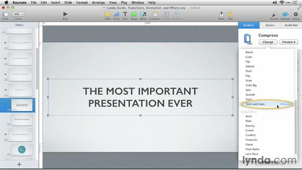 Revealing a title: Keynote: Builds, Transitions, Animations, and Effects