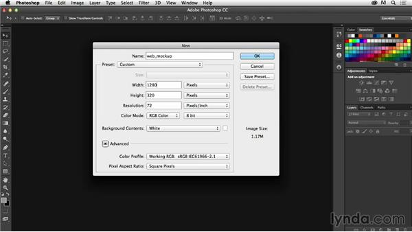 Creating documents for web projects: Photoshop CC for Web Design