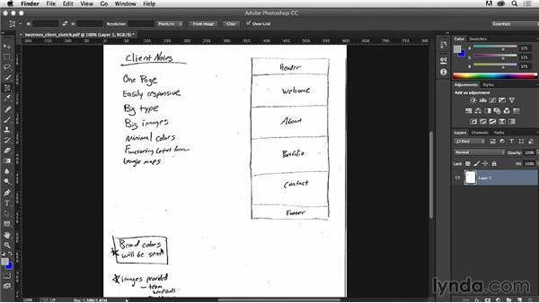 Reviewing client specs: Photoshop CC for Web Design