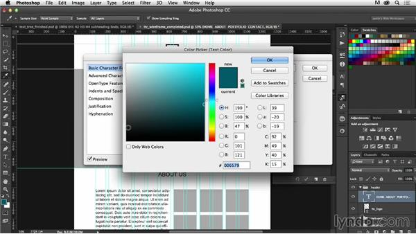 Setting up character and paragraph styles: Photoshop CC for Web Design