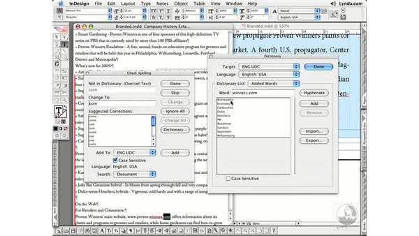 Editing the Dictionary: InDesign CS2 Essential Training