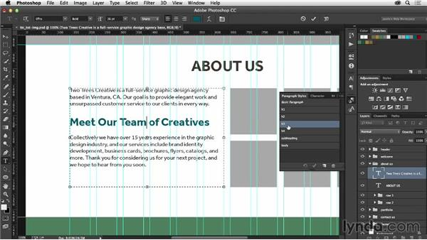 Adding copy from your client: Photoshop CC for Web Design