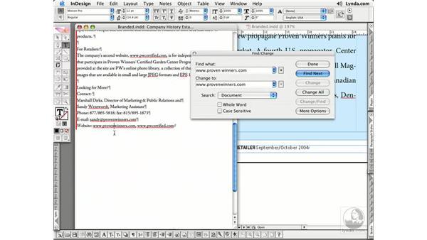 Find/Change: InDesign CS2 Essential Training