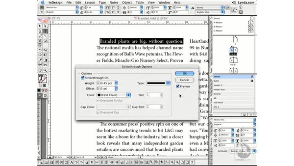 Character Formatting: InDesign CS2 Essential Training