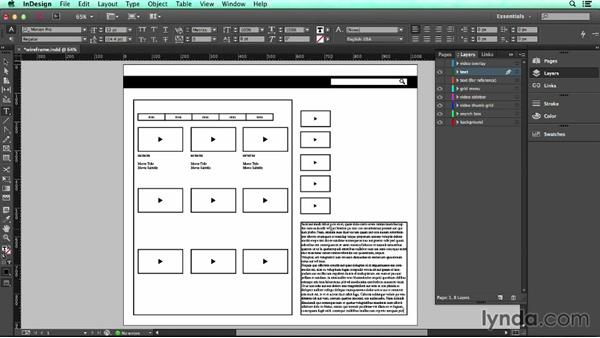 Adding placeholder text: UX Design Tools: InDesign