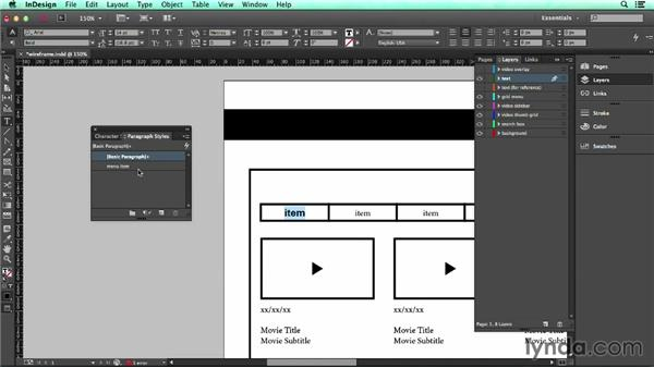Creating character and paragraph styles: UX Design Tools: InDesign