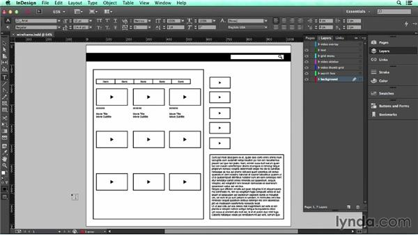 Challenge: Create an interactive video overlay using buttons: UX Design Tools: InDesign