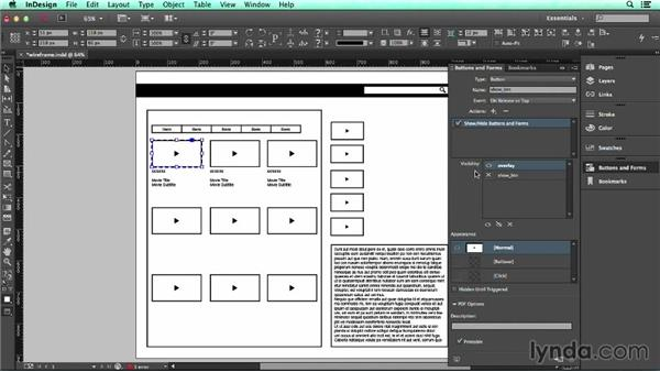 Solution: Create an interactive video overlay using buttons: UX Design Tools: InDesign