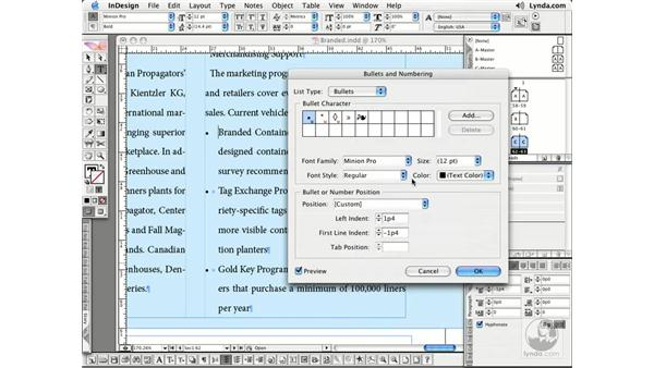 Bullets and Numbering: InDesign CS2 Essential Training