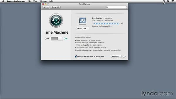Backing up a client to Mac OS X Server: Up and Running with OS X Server App