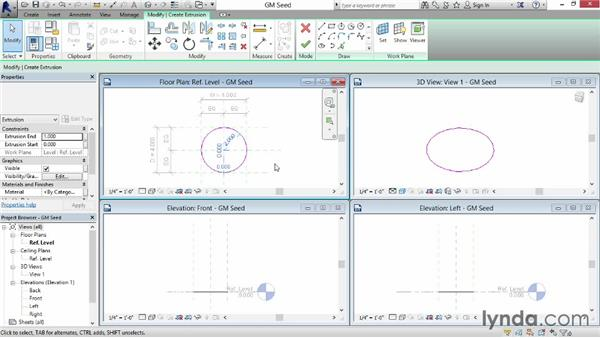 Creating circles: Revit: Family Curves and Formulas