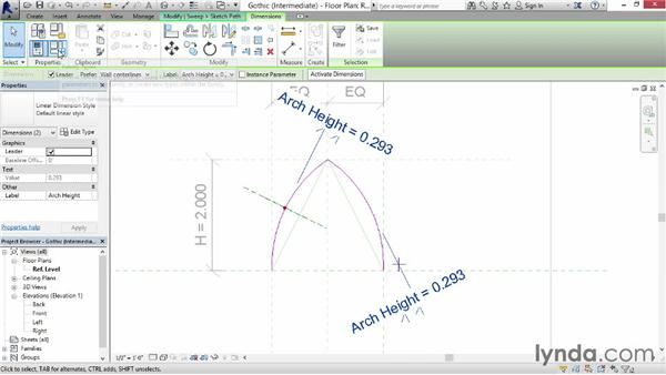 Making a Gothic arch: Revit: Family Curves and Formulas