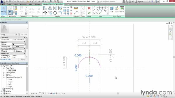 Making elliptical arches: Revit: Family Curves and Formulas