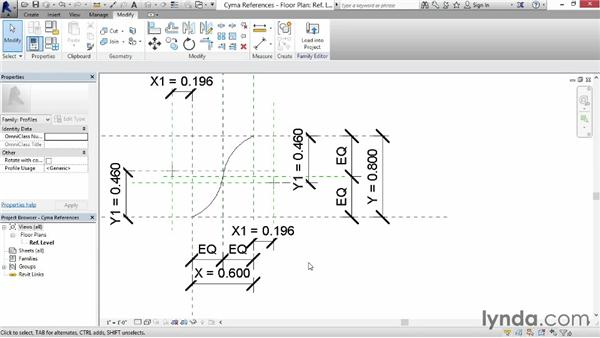Building a cyma profile family: Revit: Family Curves and Formulas