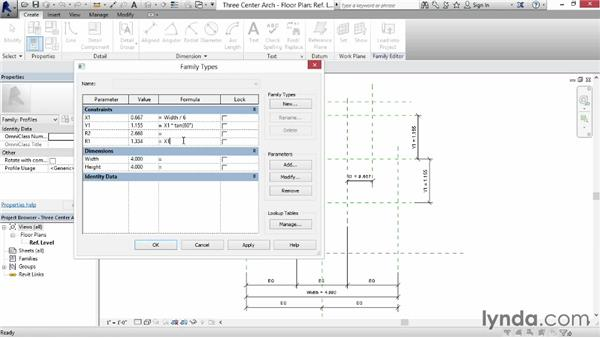 Creating a three-center arch: Revit: Family Curves and Formulas