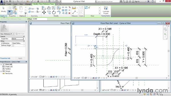 Configuring molding profiles: Revit: Family Curves and Formulas