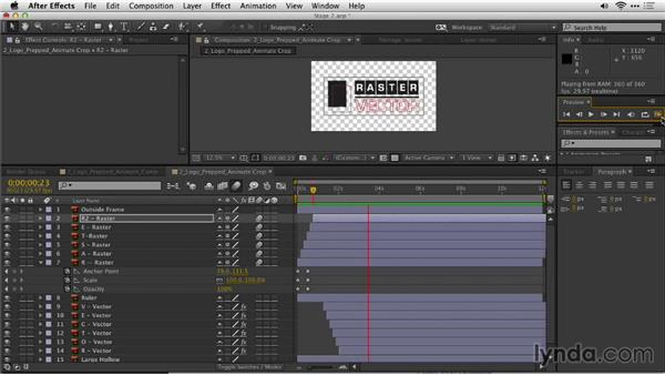 Continuing to animate layers in After Effects: Motion Graphics for Video Editors: Creating Animated Logos