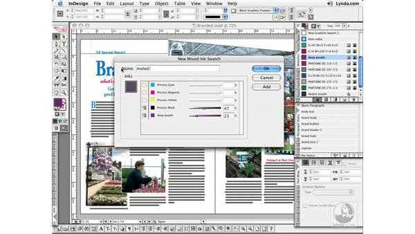Mixed Ink Swatches and Groups: InDesign CS2 Essential Training